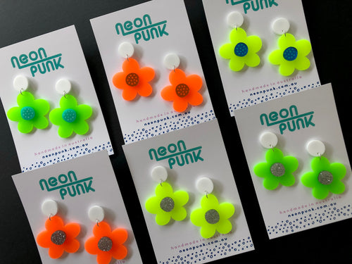 ultra neon flower earrings