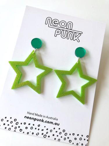 Green Glitter Star Earrings