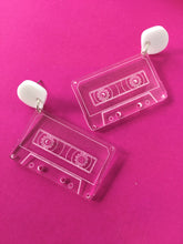 OLD SCHOOL Retro Cassette Clear Acrylic Earrings