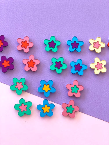 Flower Pop Mirror Statement Studs Earrings Choose Your Colours