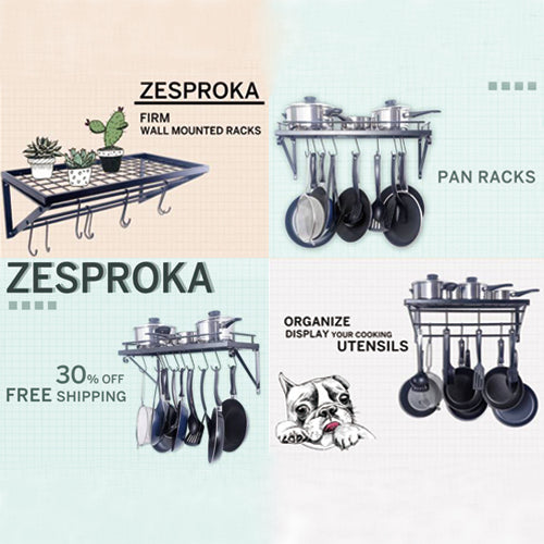 ZESPROKA Wall Mounted Pot Pan Lid Rack, Black