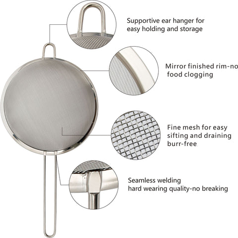 "Zesproka ZP129 Set of 3 Stainless Steel Fine Mesh Strainers for Kitchen, 3.26"", 5.78"", 7.75"", Silver"