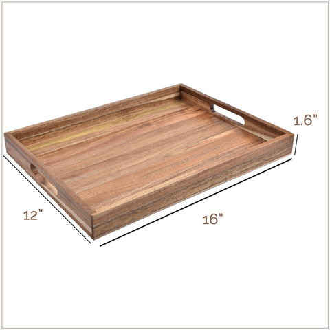 Acacia Wood Serving Tray with Handles (16 Inches)