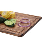 Acacia Wood Cutting Board (Set of 3) with Juice Grooves - Wooden Chopping Board for Meat, Vegetables, Fruit & Cheese – Non Slip & Non Stick Design - Butcher Block for Kitchen