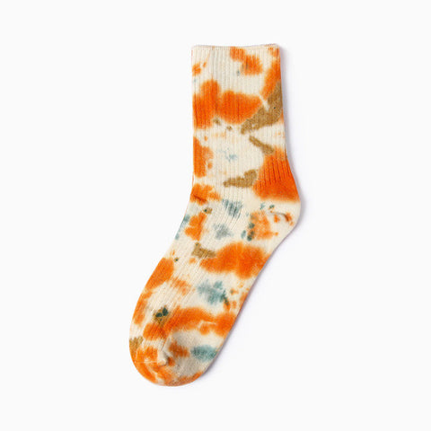 Long Orange Color Explosion Socks