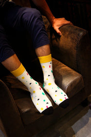 Long Spotted White Socks