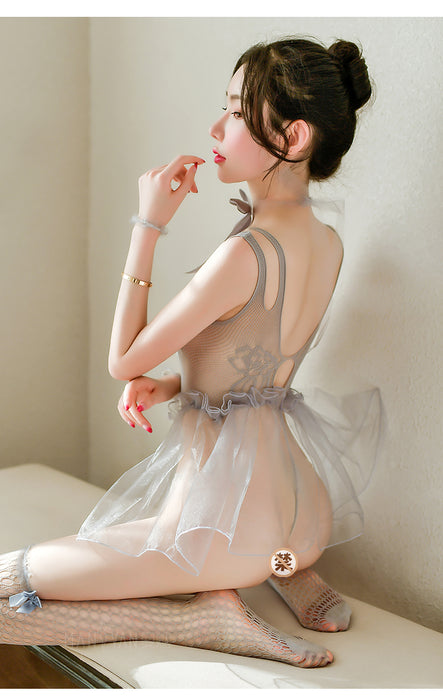 Kawaii Sexy Perspective Hollow Sling Siamese Princess Pettiskirt Suit