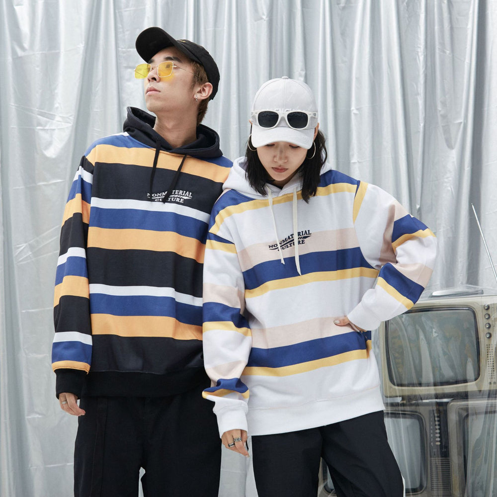 Kpop Color Block Black Orange Couple Boyfriend Hoodie