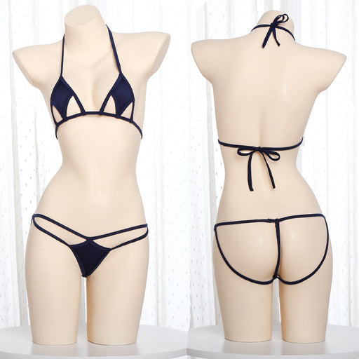 Japanese  sexy  Milk-covered halter lace hoop fun three-point underwear