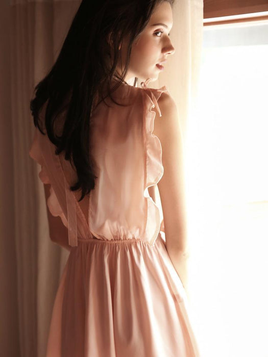 Sexy Pink Nighties - Ruffle Sheer Transparent Babydoll
