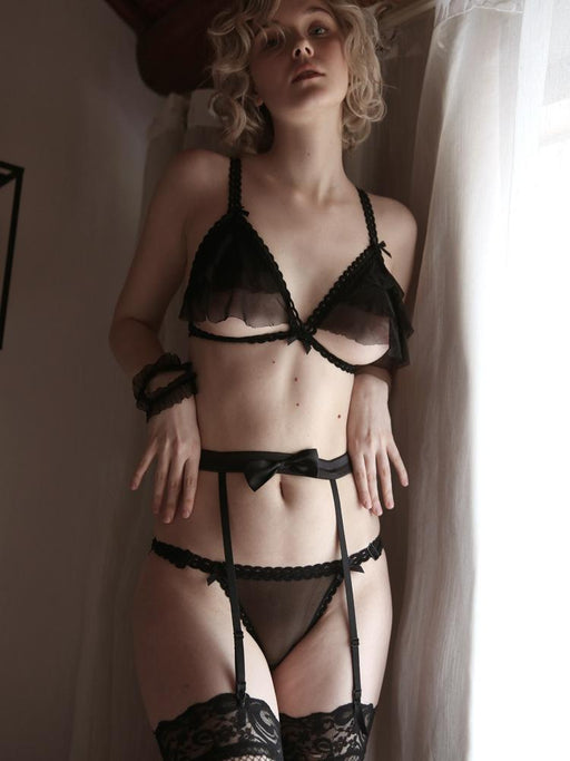 Sexy Ruffle Sheer See Thru Black Nighties Set
