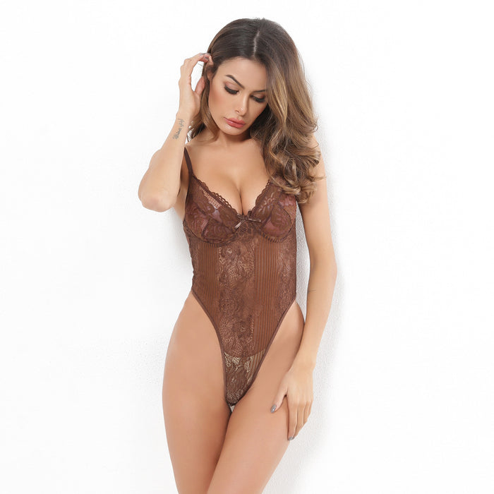 Lace gauze stitching gathers together sex appeal one-piece underwear