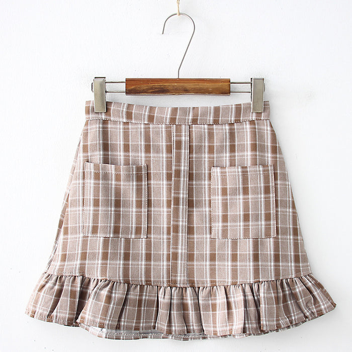 Ruffle Grid Kawaii Skirt