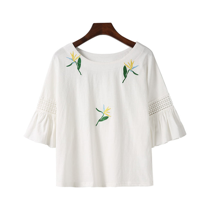 Gold Rose Embroidery T-Shirt