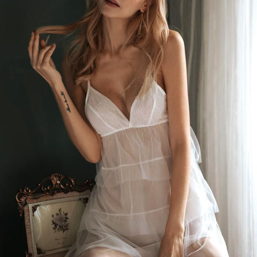 Lace Wedding Pretty Honeymoon Ruffle Sheer Lingerie Set