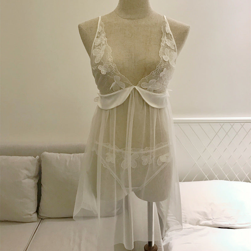 Lacy Flower Pretty Romance White Plunging See Through Lace Baby Doll Set