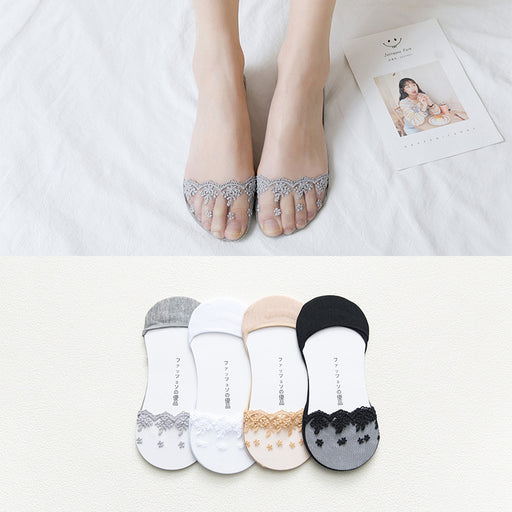 Kawaii Japanese Lace Lolita Floral Toe Socks - 5 Pairs Set