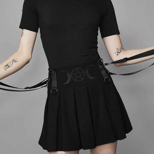 Dark punk tooling cool ins double strap pleated skirt