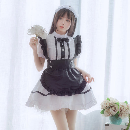 Anime Maid Kawaii Bow Cosplay Costume Dress Set