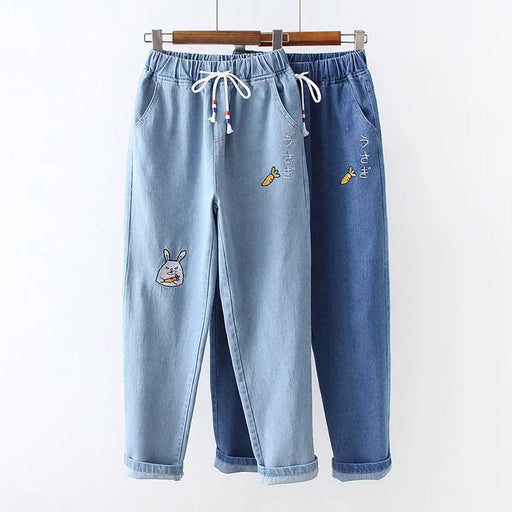 Japanese All-match college style radish letter embroidered denim pants