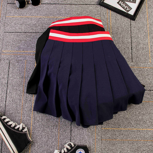 Japanese high waist slim student pleated skirt