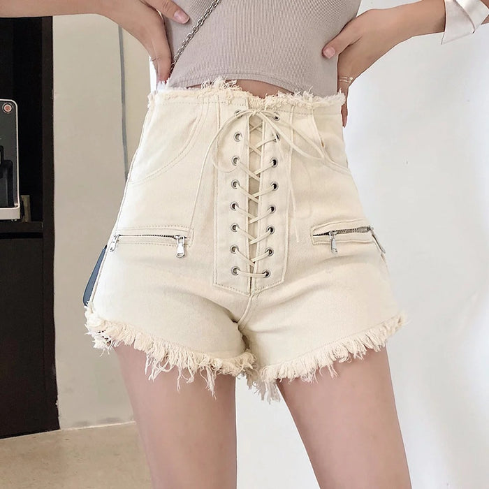 Japanese high-waist denim shorts with ties
