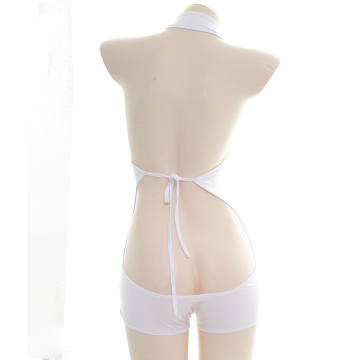 Sexy Amine School Girl Kawaii Stripped Heart Cat Keyhole Lingerie