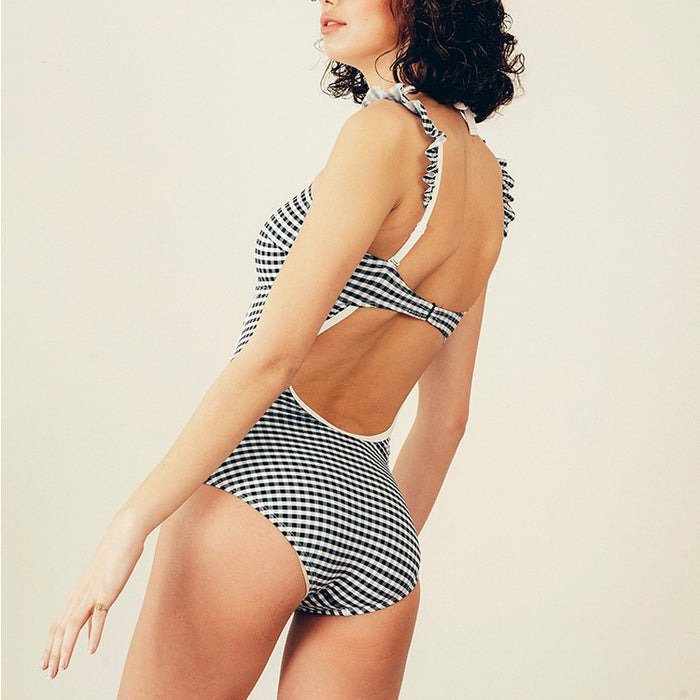 Grid Cut Out Aesthetic Kawaii Swimsuit