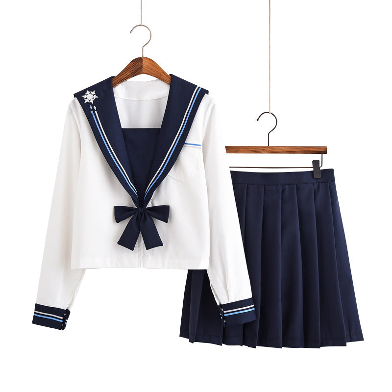 Soft sister jk uniform snowflake embroidery navy wind sailor college style suit