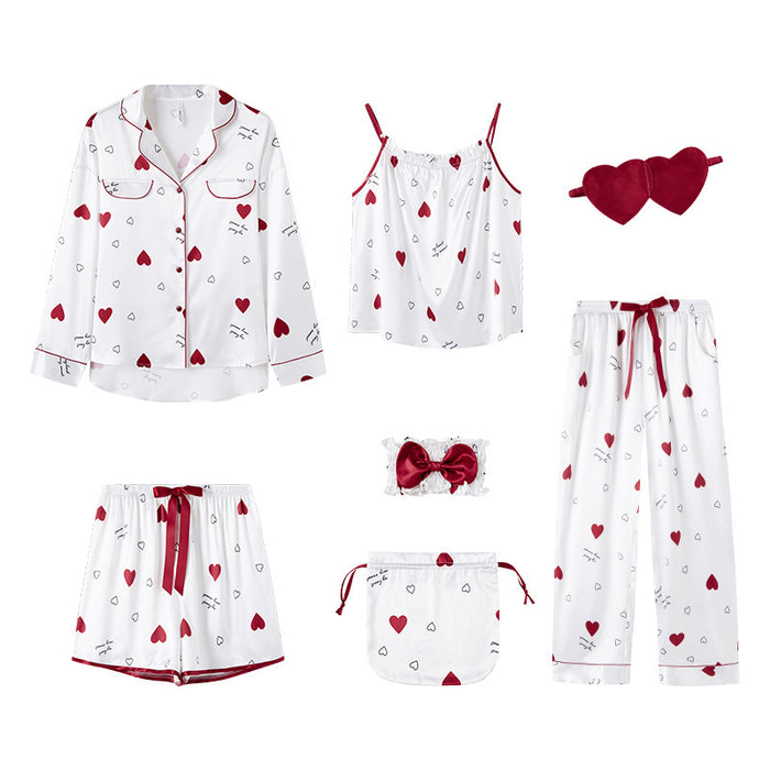 Hearty Kawaii Japanese Grid Pj 7pcs Set