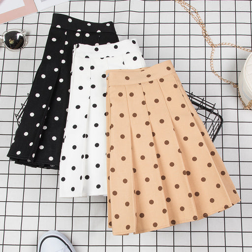 Kawaii polka dot high waist pleated skirt