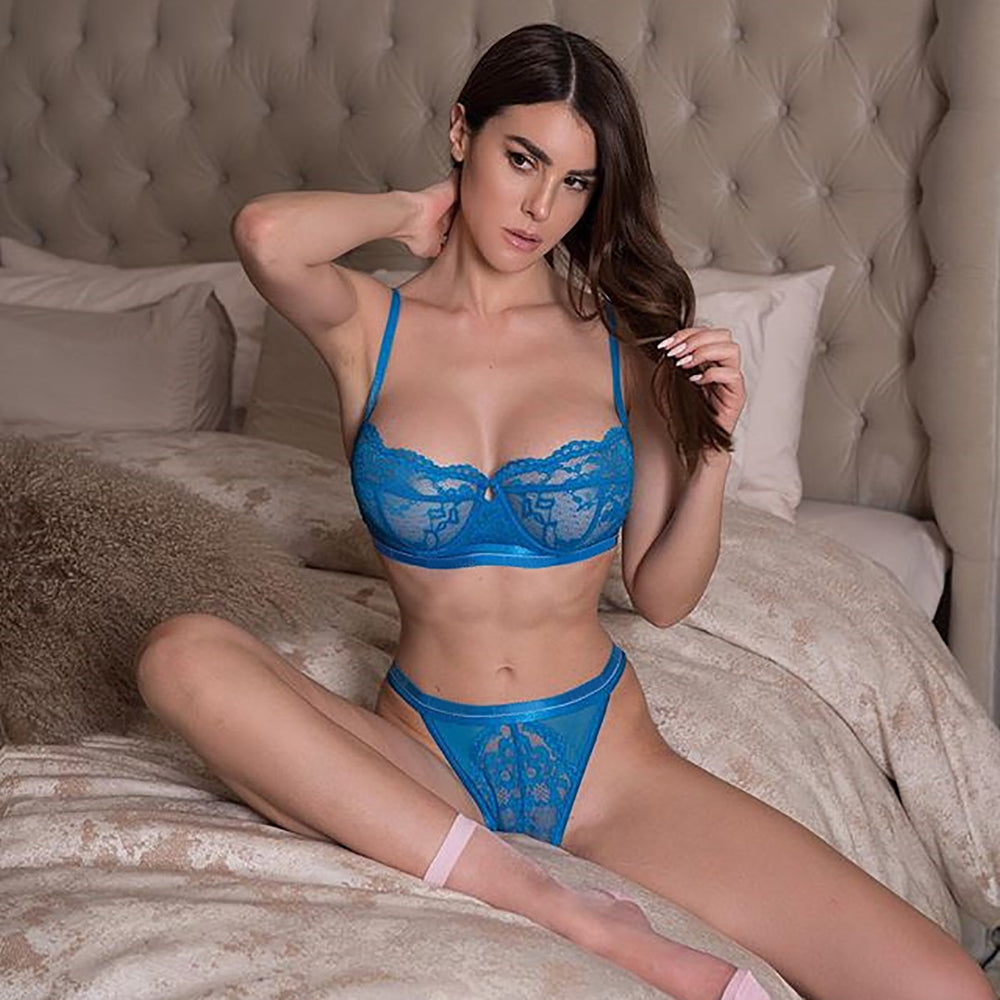 Blue Angel's Sexy Lace Sheer Mesh Lingerie Set - Blue
