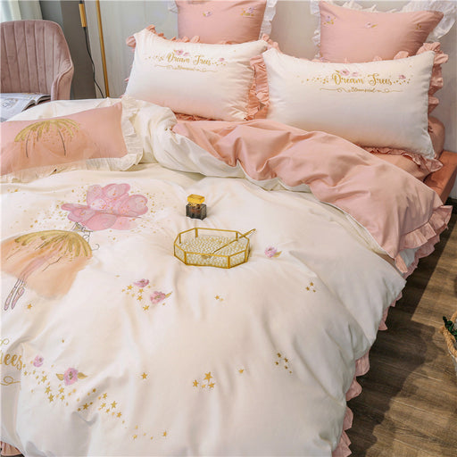 Royal Embroidery Japanese Harajuku Flower Bedding Sheet Pillow Case Set