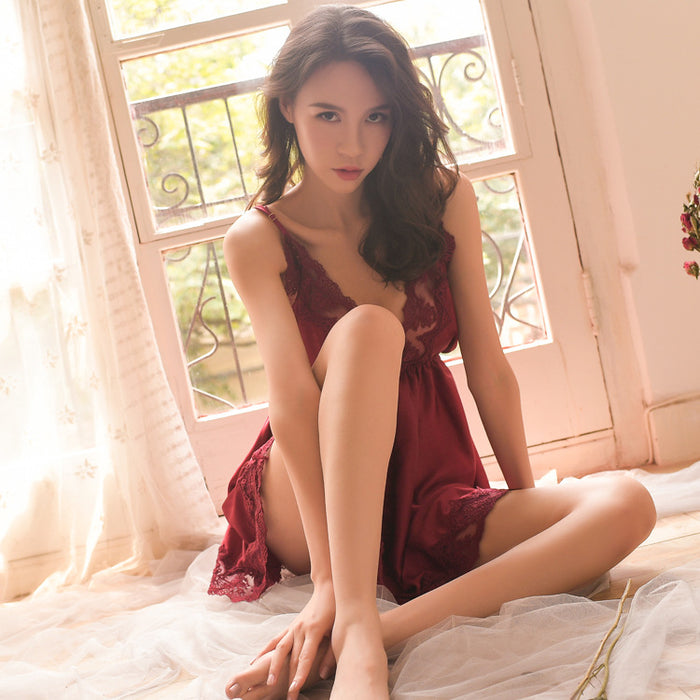 Rose Large Size Loose Big Halter Strap Satin Lace Side Thin Nightdress
