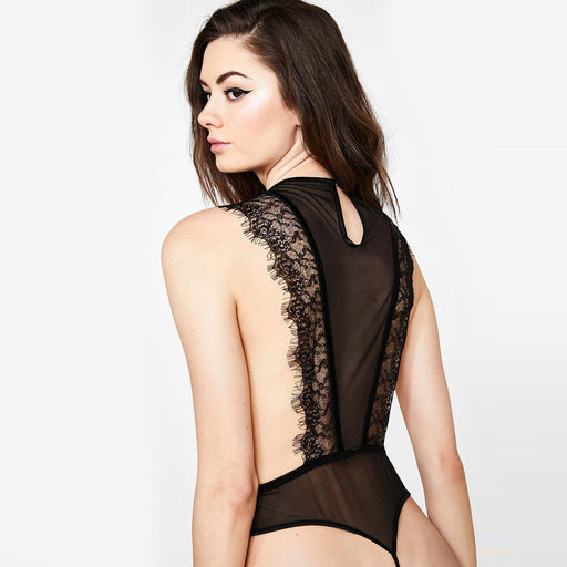 Sexy Nighties - Sexy lace cross cutout thong jumpsuit