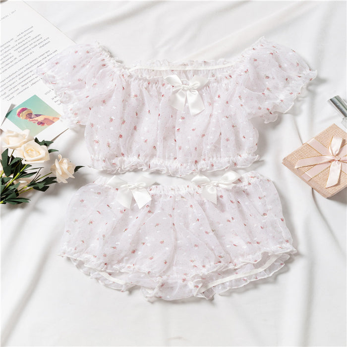You Feel Like Angel Dots Fairy Pretty Sheer Lingerie Set