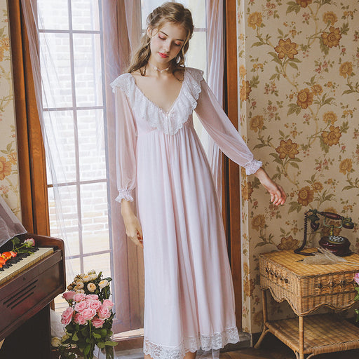 Victorian Era - Tulle Retro Princess Sleeping Temperament V-neck Night Gown