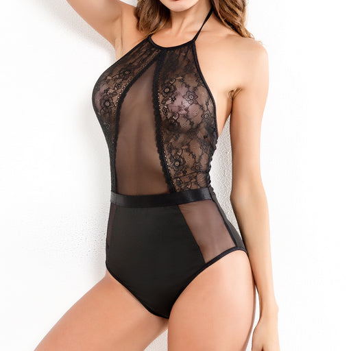 Sexy mesh yarn stitching solid color sling sexy jumpsuit