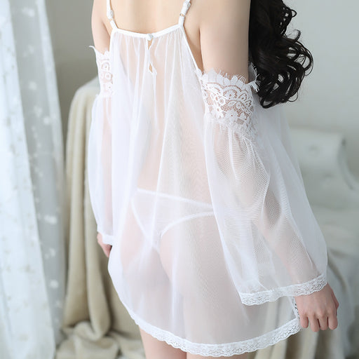 Sexy Strapless Lace Nightdress Set Perspective Mesh Underwear