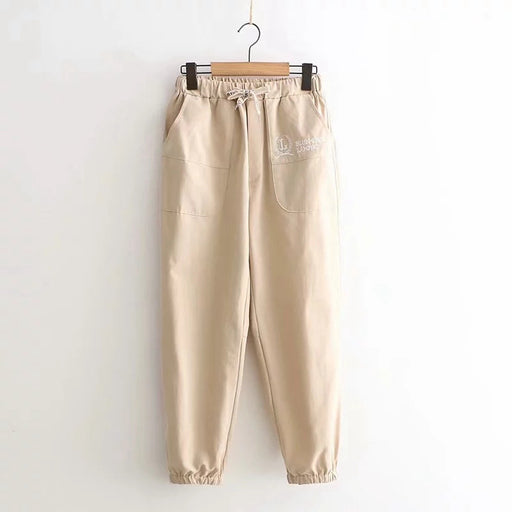 Korean all-match college wind elastic waist letter embroidery trousers
