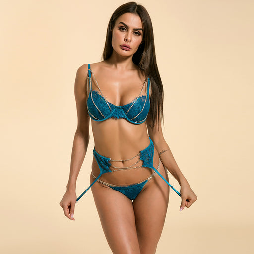 Sexy Bold Hot Blue Bra Set Lingerie