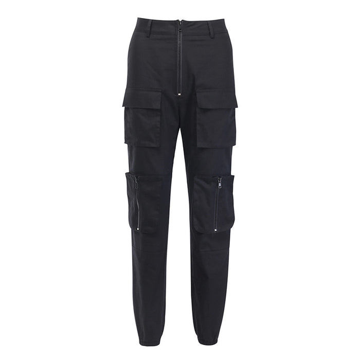 Super handsome battlefield loose bf multi-pocket zipper slim casual pants