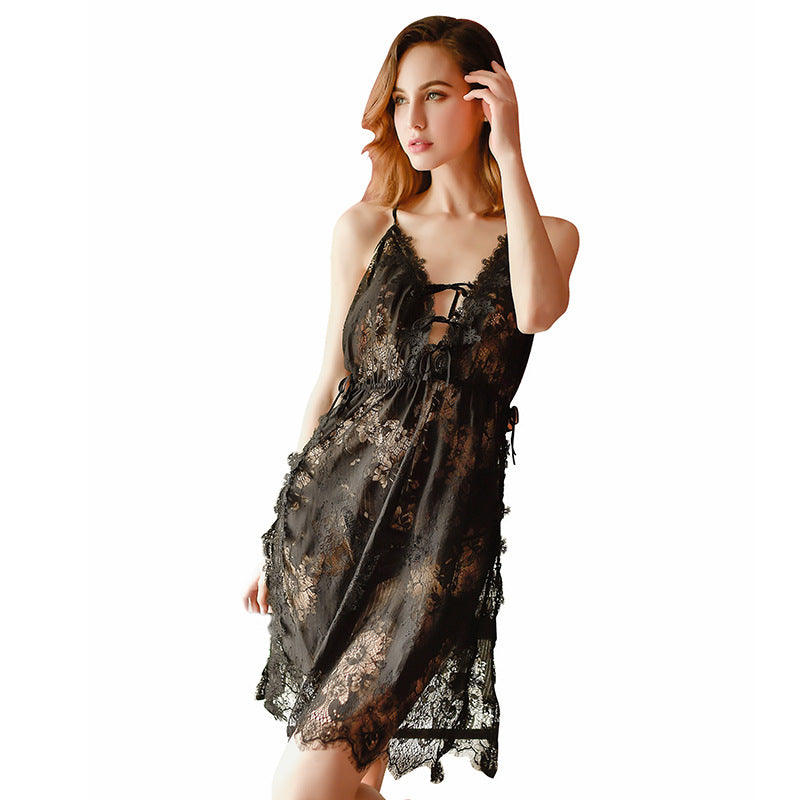 Factory Direct Pajamas Spring And Summer Nightdress Side Slit Bathrobe Sexy Lace Dress