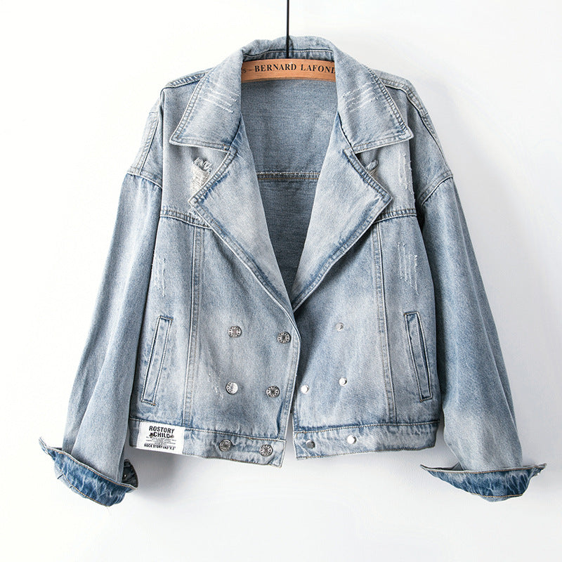 Vintage print denim blazer jacket
