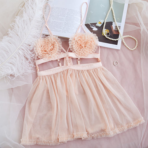 Pink Sheer See Thru Flower Hearty Quality Lace Baby Doll Set