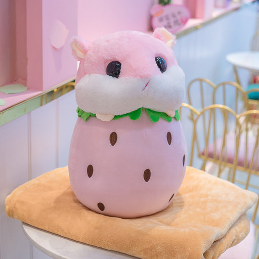 Strawberry  Hamster Fruit Pillow
