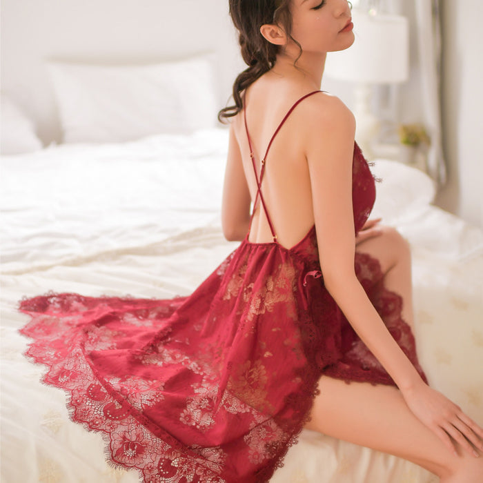 High-End Lace Temptation Sexy Underwear Side Slit Sling Nightdress Transparent Taste