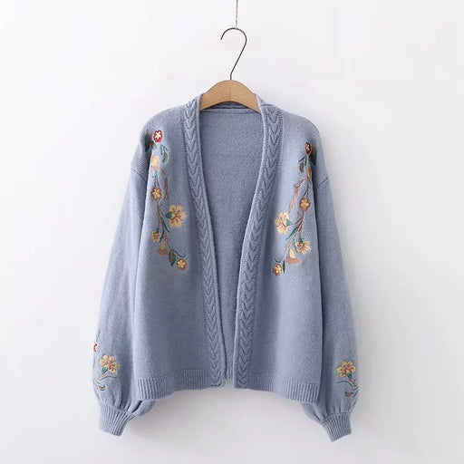 Kawaii floral embroidery knit long-sleeved sweatshirt