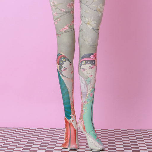 Chinese Pastel Bling Harajuku Thigh High Tights