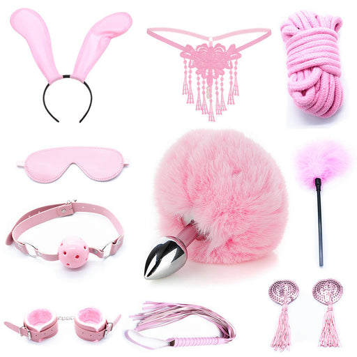 Rope Bunny Cat Cosplay Bondage Gear Accessories Sexy Toy Set - 10 PCS Set